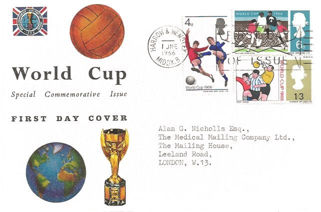 1966 World Cup Football, Connoisseur FDC, First Day of Issue Harrow & Wembley Slogan