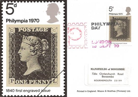 1970 Philympia, Set of 3 Moore & Matthes (Printers) Ltd Maxicard FDC's. Philympia Day H/S