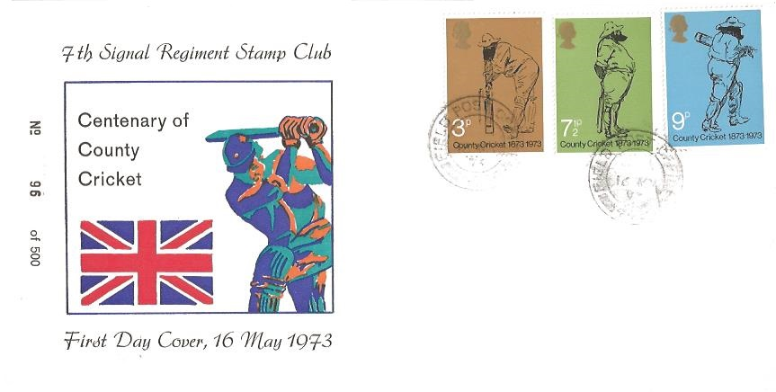 1973 County Cricket Centenary, 7th Signal Regiment Stamp Club FDC, Field Post Office 445 cds