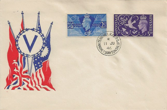 1946 Victory. US Illustrated First Day Cover, Tern Hill RAF PO Market Drayton Salop cds