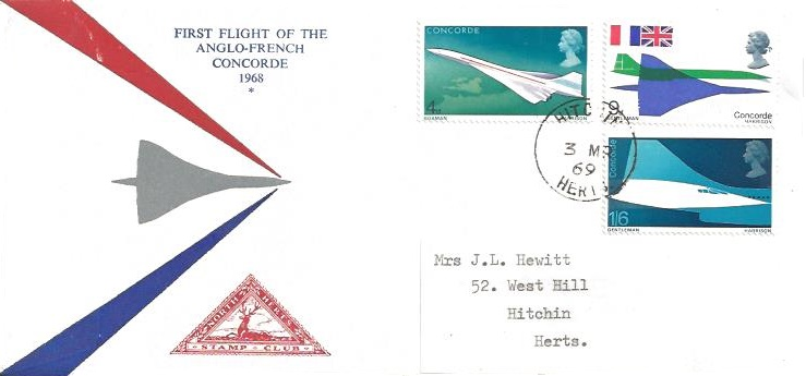 1969 Concorde, North Herts. Stamp Club First Day Cover, Hitchin Herts.cds