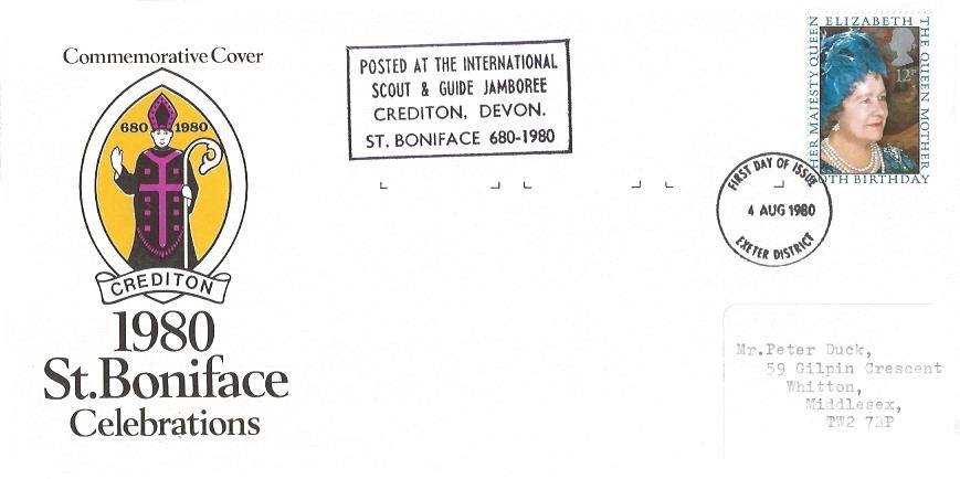 1980 Queen Mother 80th Birthday, 1980 St. Boniface Celebrations Crediton Devon First Day Cover, Exeter District FDI