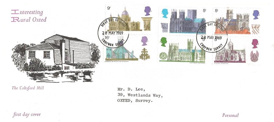 1969 British Cathedrals, Rural Oxted First Day Cover, Croydon Surrey FDI Full Set