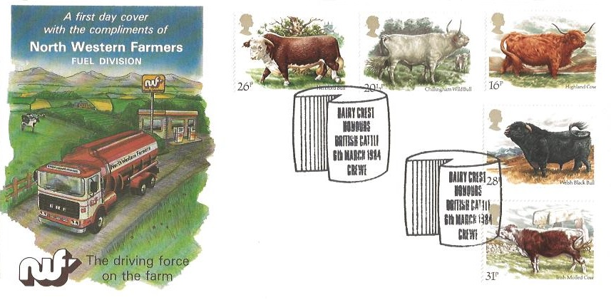 1984 British Cattle, North Western Farmers Fuel Division First Day Cover, Dairy Crest Honours British Cattle Crewe H/S