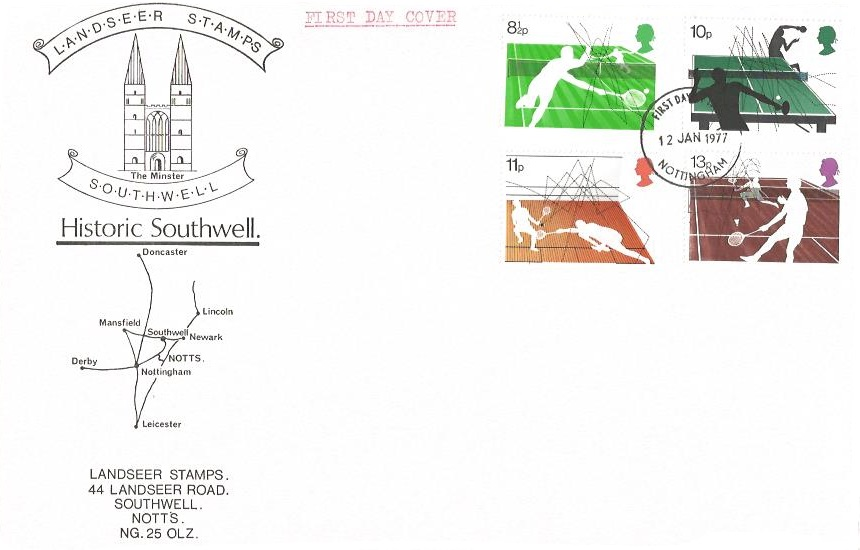 1977 Racket Sports, Landseer Stamps Historic Southwell First Day Cover, Nottingham FDI