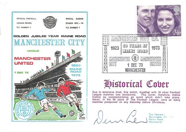 1973 Golden Jubilee Year Maine Road Manchester City v Manchester United Dawn Football Cover, 50 Years at Maine Road Manchester H/S, Signed by Dennis Law