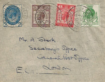 1929 Postal Union Congress, Plain First Day Cover, Postal Union Congress London cds