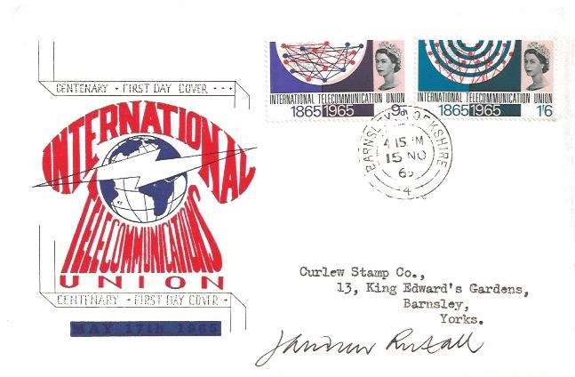 1965 International Telecoms, Rembrandt First Day Cover, Barnsley Yorkshire cds, Signed by Stamp Designer Andrew Restall