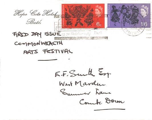 1965 Commonwealth Arts Festival, Hope Cote Hotel Bath First Day Cover, 4th Bach Festival Bath October 1865 Bath Slogan