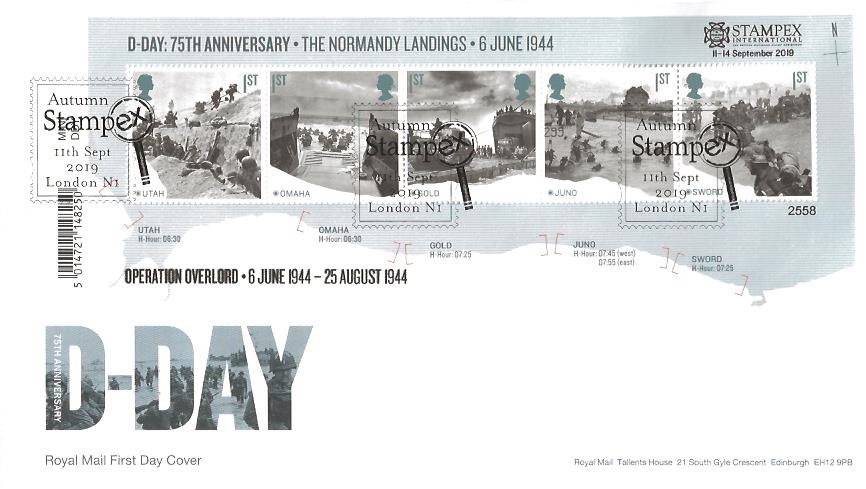 2019 D Day Stampex International Overprinted Miniature Sheet, Royal Mail First Day Cover, Autumn Stampex London N1 H/S