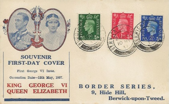 1937 King George VI ½d, 1d, 2½d Definitive Issue, Border Series Souvenir First Day Cover, Berwick on Tweed cds