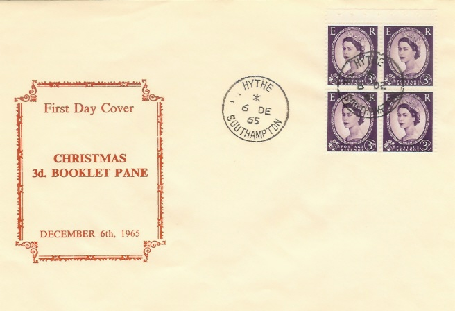 1965, 2/- Christmas Booklet, 4 x 3d Pane on Display FDC, Hythe Southampton cds