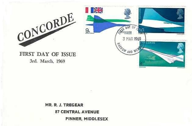 1969 Concorde, Illustrated R J Tregear First Day Cover, Harrow & Wembley FDI