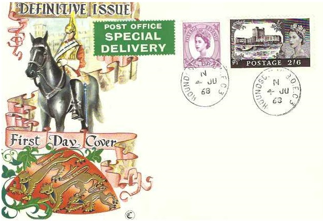 1968 QEII Definitive Issue 2s 6d Windsor Castle Chalky Paper, Special Delivery Connoisseur FDC, Houndsditch BO EC3 cds
