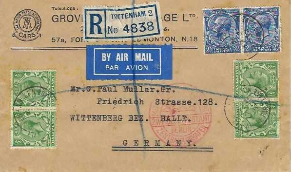 1932 Registered Grove Court Garage Ltd Airmail Cover, Tottenham to Wittenberg Germany, Flown by British Airways Ltd