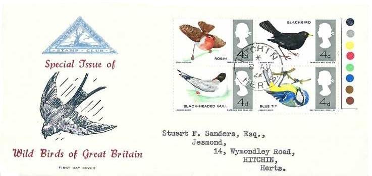 1966 British Birds, North Herts. Stamp Club FDC, Hitchin Herts. cds
