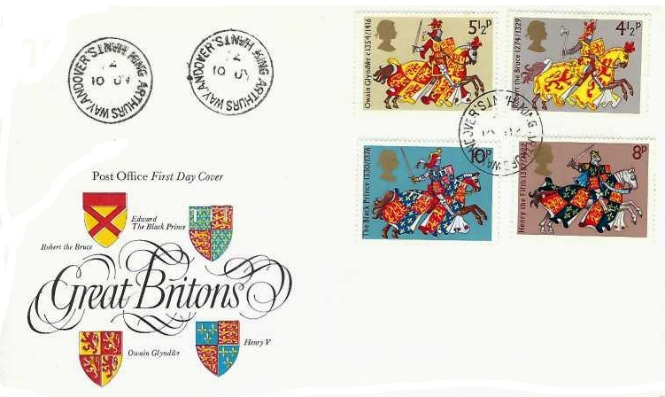1974 Great Britons, Post Office FDC, King Arthurs Way Andover Hants. cds