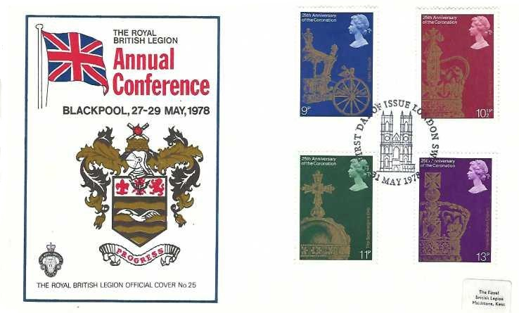1978 25th Anniversary of Coronation, The Royal British Legion No.25 FDC, First Day of Issue London SW H/S