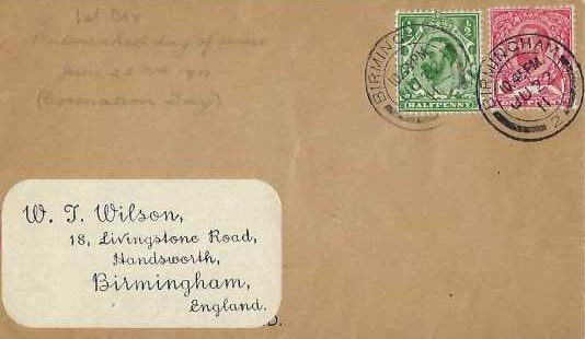 1911 ½d & 1d KGV Downey Heads First Day Cover to W T Wilson, Birmingham cds