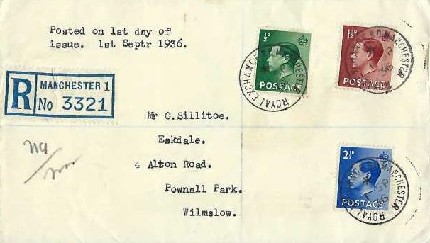 1936 King Edward VIII ½d, 1½d, 2½d Definitive Issue, Plain Registereds First Day Cover, Royal Exchange BO Manchester cds