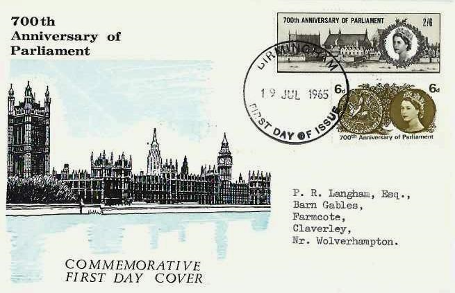 1965 700th Anniversary of Parliament, Illustrated First Day Cover, Birmingham FDI