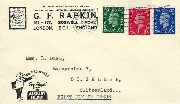 1937 King George VI ½d, 1d, 2½d Definitive Issue, G F Rapkin Stamp Dealer First Day Cover, London EC Cancel
