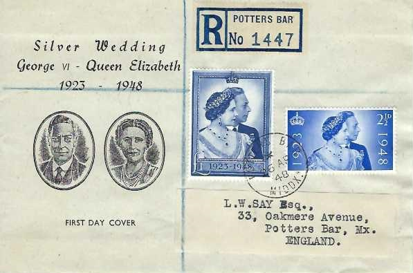 1948 King George VI Silver Wedding, Registered Illustrated First Day Cover, Potters Bar Middx. cds