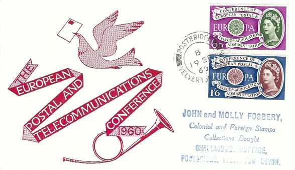 1960 Europa, Illustrated First Day Cover, Postbridge Yelverton Devon cds