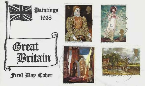 1968 British Paintings, Illustrated First Day Cover, East Bergholt Colchester Essex cds