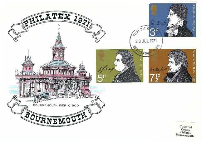 1971 Literary Anniversaries, Cotswolds Philatex 1971 Bournemouth First Day Cover, Bournemouth - Poole FDI