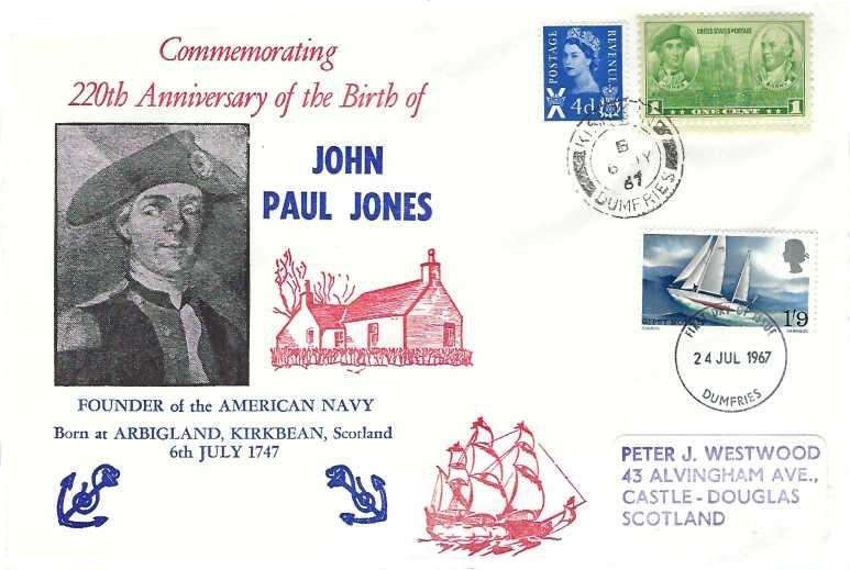 1967 Sir Francis Chichester, Commemorating 220th Anniversary of the Birth of John Paul Jones First Day Cover, Dumfries FDI