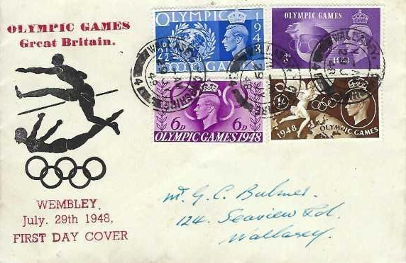 1948 Olympic Games Wembley, Illustrated First Day Cover, Wallasey Cheshire cds