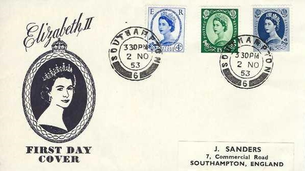 1953, QEII Wilding Definitive Issue, 4d, 1/3d, 1/6d J Sanders First Day Cover, Southampton 6 cds