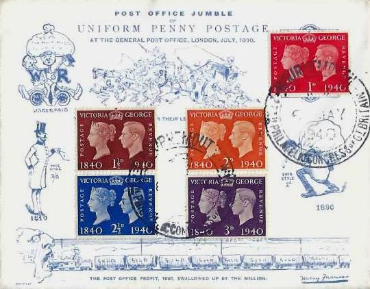 1940 Postage Stamp Centenary, Harry Furniss Spoof 1890 Uniform Penny Post Envelope FDC, 27th Philatelic Congress H/S