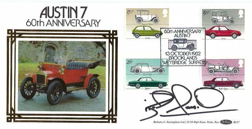 1982 British Motor Cars, Benham BLS7 Official FDC, 60th Anniversary Austin 7 Brooklands Weybridge Surrey H/S, signed by Nigel Mansell