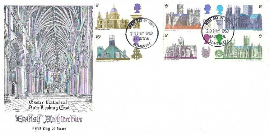 1969 British Cathedrals, Exeter Cathedral First Day Cover, Taunton Somerset FDI