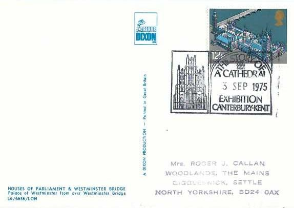 1975 Parliament, J Arthur Dixon Houses of Parliament Postcard FDC, The Story of a Cathedral Exhibition Canterbury H/S