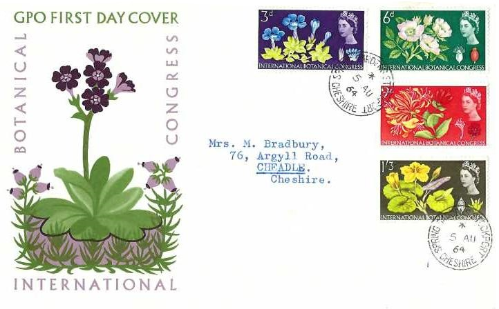 1964 Botanical Congress, GPO First Day Cover, Spring Gardens Stockport Cheshire cds