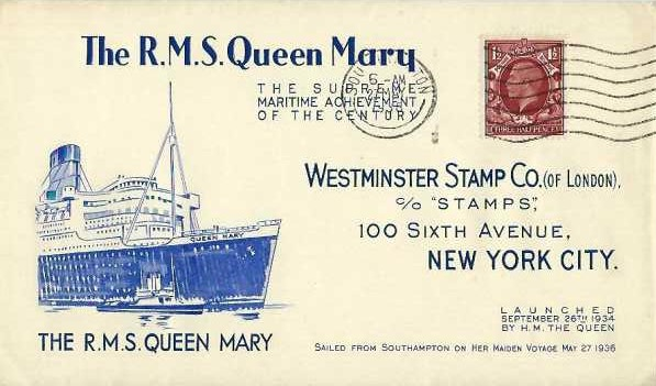 1936 Westminster Stamp Co. RMS Queen Mary Maiden Voyage Cover, Southampton Cancel