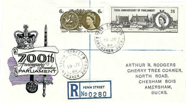1965 700th Anniversary of Parliament Registered Illustrated First Day Cover, Penn Street Amersham Bucks. cds