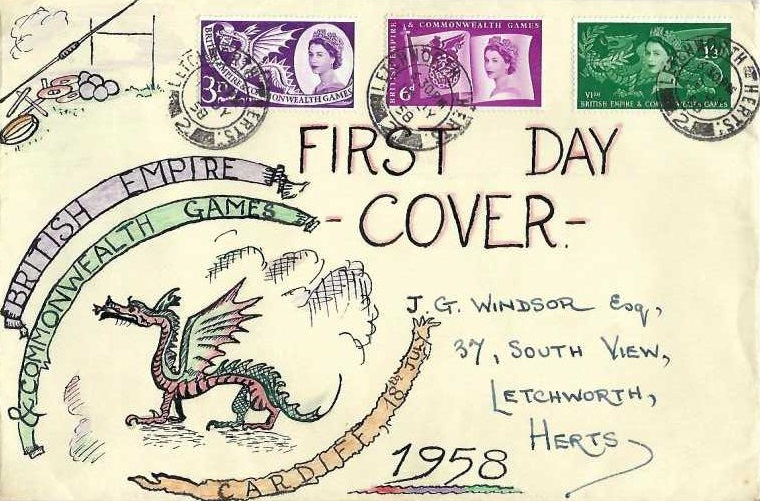 1958 Commonwealth Games, Hand Illustrated FDC, Letchworth Herts. 2 cds