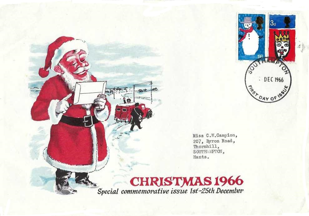 1966 Christmas, Rushstamps FDC, Southampton FDI