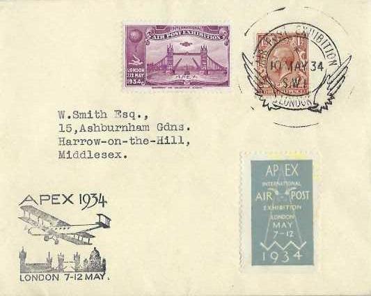 1934 Apex International Air Post Exhibition London 7 -12 May Cover, Air Post Exhibition London SW1 H/S, Purple Exhibition Label