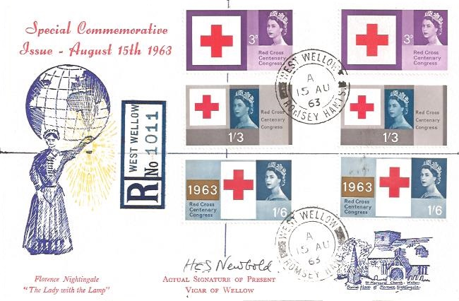 1963 Red Cross Phosphor & Ordinary Stamps, Illustrated First Day Cover West Wellow Romsey Hants. cds