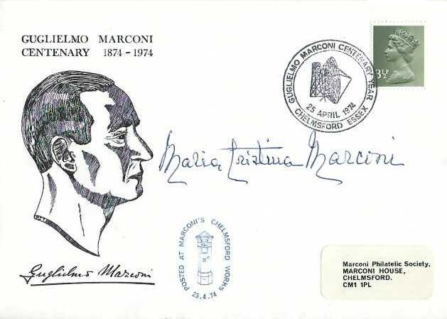1974 Guglielmo Marconi Centenary Cover, Guglielmo Marconi Centenary Year Chelmsford Essex H/S, Signed by his daughter