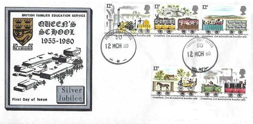 1980 Liverpool & Manchester Railway Queen's School Silver Jubilee First Day Cover, Force Post Office 50 cds