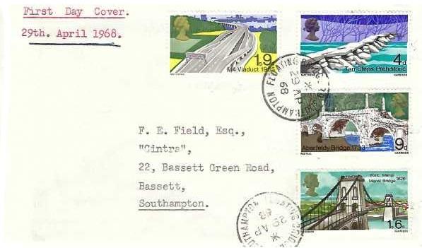 1968 British Bridges, Plain First Day Cover, Floating Bridge Southampton cds
