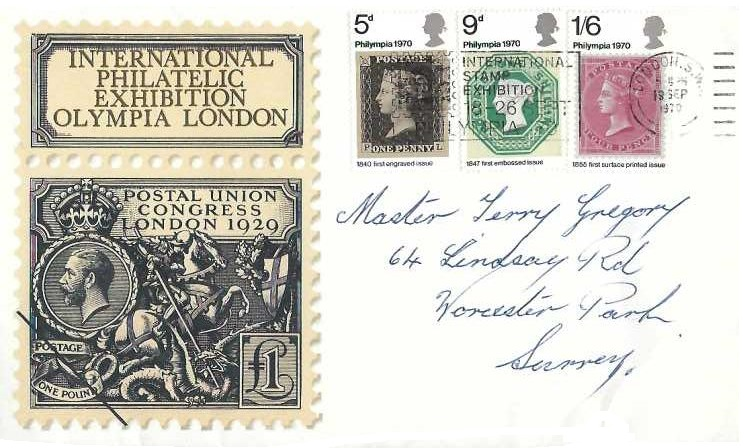 1970 Philympia, Thames FDC, International Stamp Exhibition 18 - 26 Sept. Philympia London SW Slogan