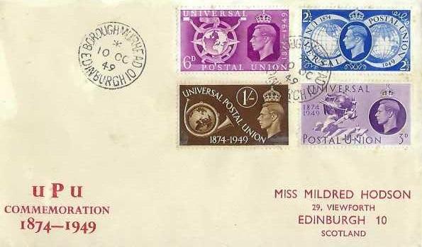 1949 Universal Postal Union, Miss Mildred Hodson First Day Cover, Borough Muirhead Edinburgh cds